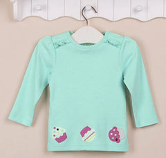 Girls long-sleeves tee - Light blue/green cupcake
