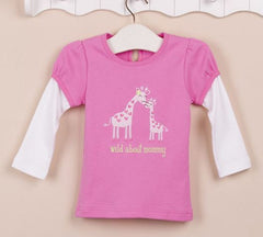 Girls long-sleeves tee - Pink giraffe