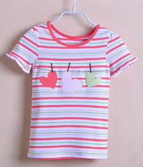 Girls' stripe tee with hearts