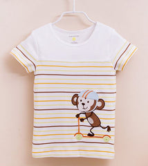 Boy stripe monkey tee