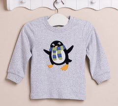 Boys long-sleeves tee - Grey penguin