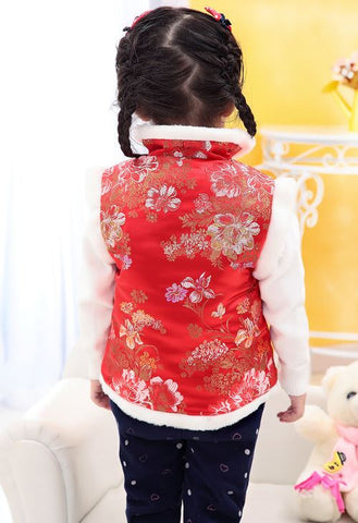 Handmade Children's classic quilted brocade Qipao Cheongsams vest in red, back view