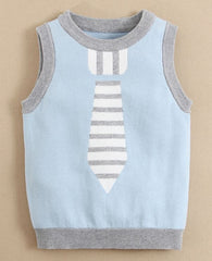 baby boy Sweater vest with tie - Blue
