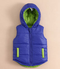 Boy/Girl hooded reversible vest - Blue/Green