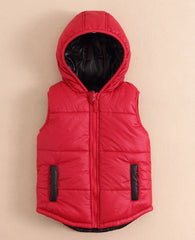 Boy/Girl hooded reversible vest - Red/black
