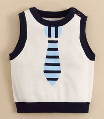 baby boy Sweater vest with tie - White