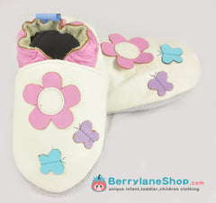 Baby girl soft sole leather shoes - White flower
