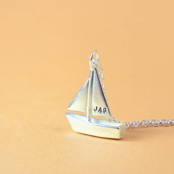bespoke jewellery sail boat necklace