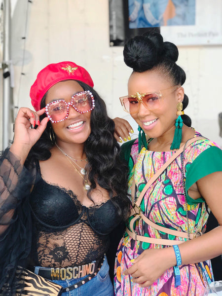 samantha smikle of nroda and tiffany battle of Werk! Place nroda eyewear at afropunk 2018