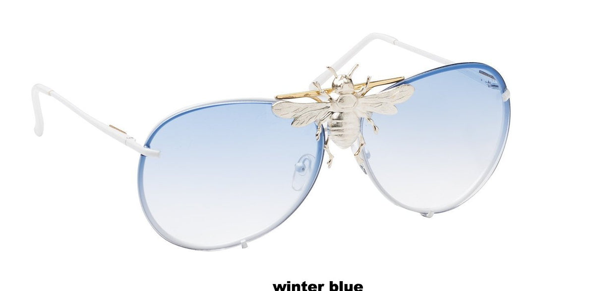 I'll Be Rich Forever Bee Sunglasses - Limited Sunset Edition Winter Blue - Blue to clear gradient SUNNIES + OPTICS Sunglasses Collection, Tnemnroda man- NRODA
