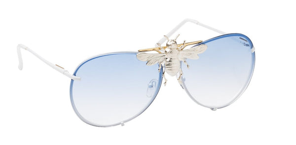 I'll Be Rich Forever Bee Sunglasses - Limited Winter Blue