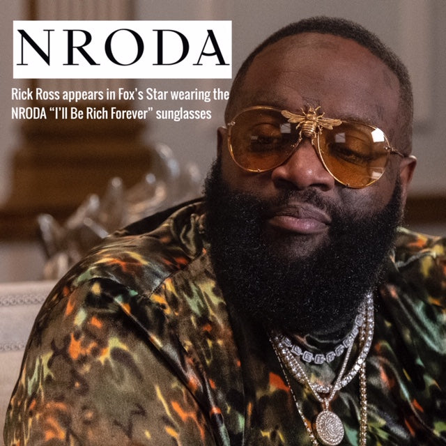 Rick Ross in the I'll Be Rich Forever Bee Sunglasses in Yellow on Fox's Star  SUNNIES + OPTICS Sunglasses Collection- NRODA