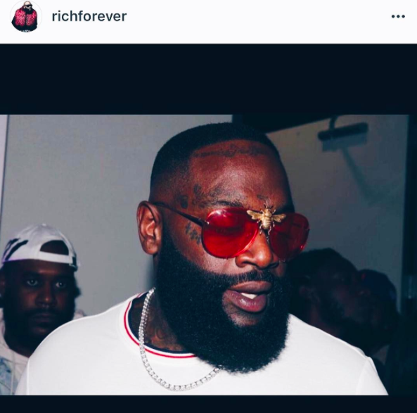 Rick Ross in the I'll Be Rich Forever Bee Sunglasses in Rose  SUNNIES + OPTICS Sunglasses Collection- NRODA