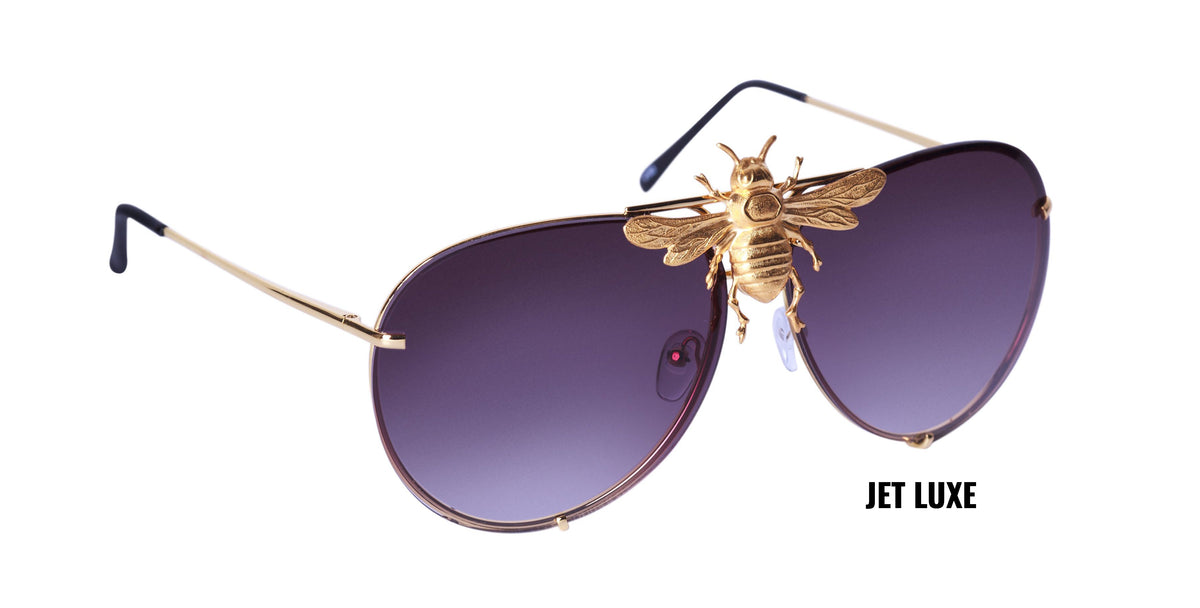 I'll Be Rich Forever Bee Sunglasses [Limited Black Out Edition] Jet Luxe: Jet Lens/Gold frame SUNNIES + OPTICS Sunglasses Collection, Tnemnroda man- NRODA