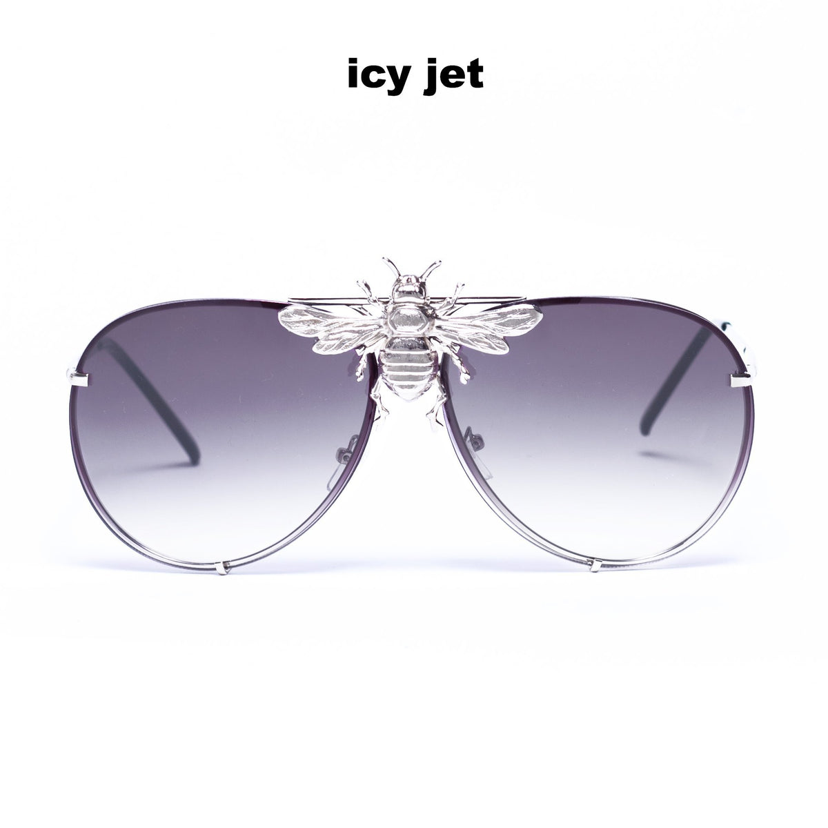 I'll Be Rich Forever Bee Sunglasses [Limited Black Out Edition] Icy Jet - jet to gray lens, silver frame, rhodium bee SUNNIES + OPTICS Sunglasses Collection, Tnemnroda man- NRODA