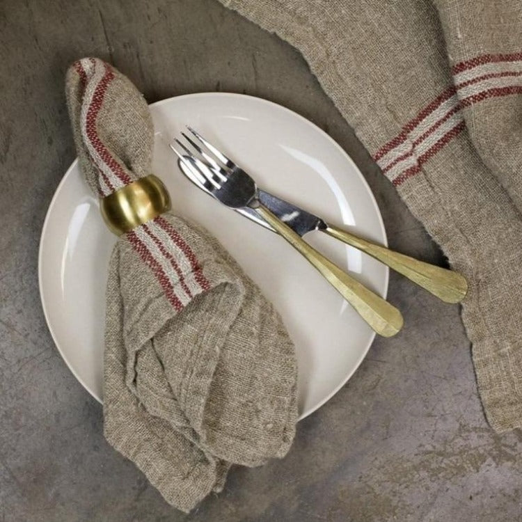 linen napkin with red stripe