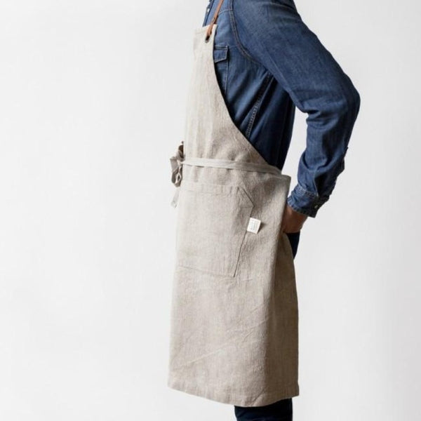 Linen & leather apron