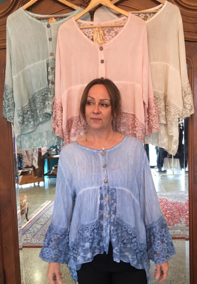 Soft cotton lace and silk Italian Top