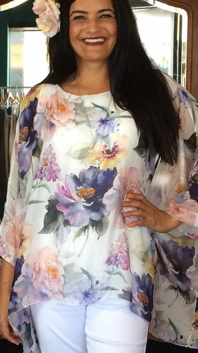 Watercolour Floral Print Top