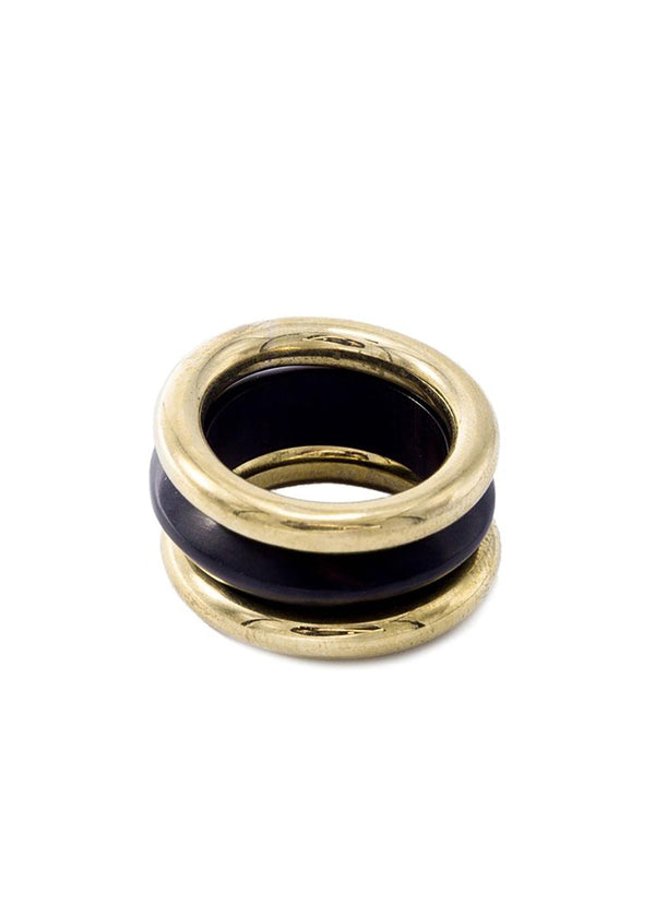 ソコ[Mixed Material Rounded Stacked Ring]リング