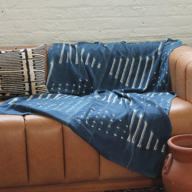 Vintage Hand Dyed Indigo Cotton Throw Blankets - Style 1
