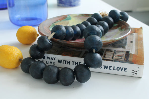 Handmade Jumbo Midnight Blue Sentimental Keepsake Handmade Decorative Bead Strand