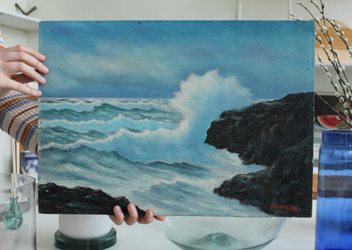 Vintage Seascape Oil Painting On Canvas Board- Signed by artist SHINAGAWA
