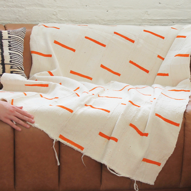 White Cotton & Orange Solid Line Design Handwoven Fabric Textile Mudcloth Throw - Regular Size