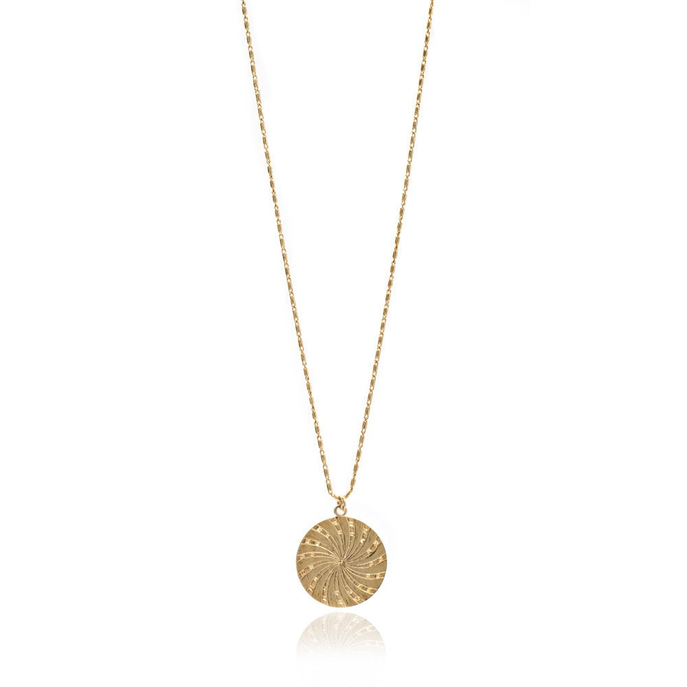 Large Gold Sun Disc Coin Necklace
