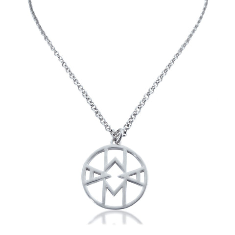 mama necklace contemporary geometric pendant silverMama Charm Necklace Rhodium Plated - Hoochie Mama
