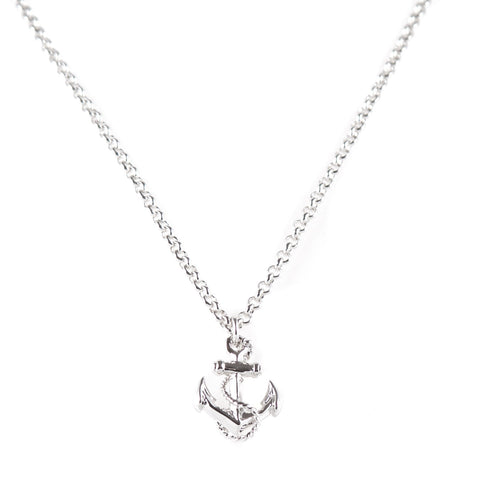 Anchor Rhodium Charm Necklace