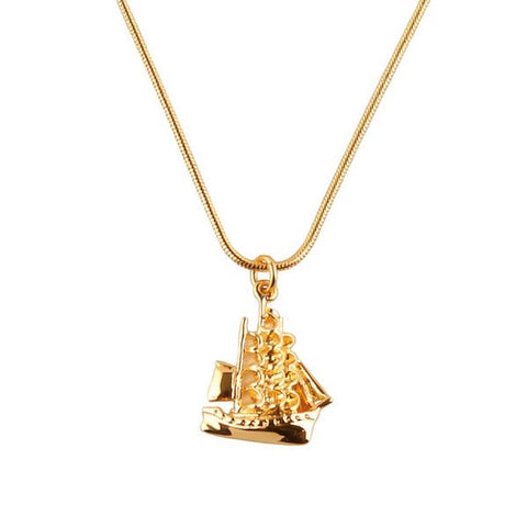 Clipper Ship Gold Charm Necklace