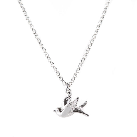 Swallow Rhodium Charm Necklace