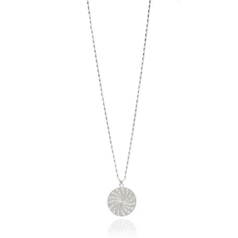 Large Silver Sun Disc Coin Necklace