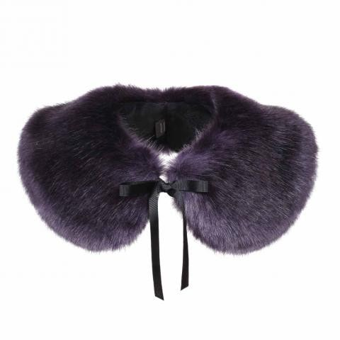 Aubergine Faux Fur Peter Pan Collar