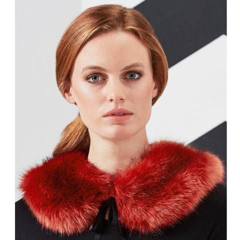 Brick Red Faux Fur Peter Pan Collar
