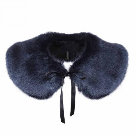 Midnight Faux Fur Peter Pan Collar