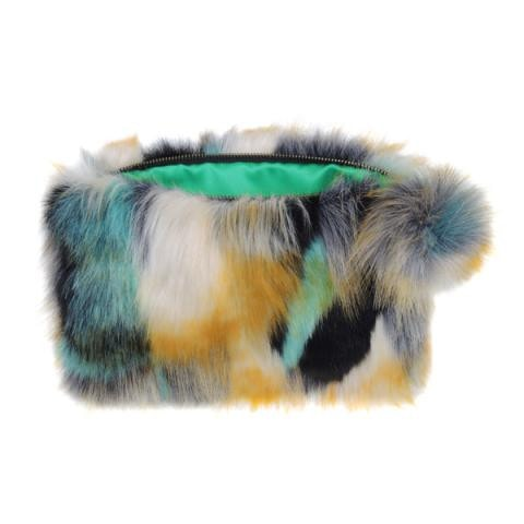 Impressionist Green Over-Sized Pom Pom Clutch Bag