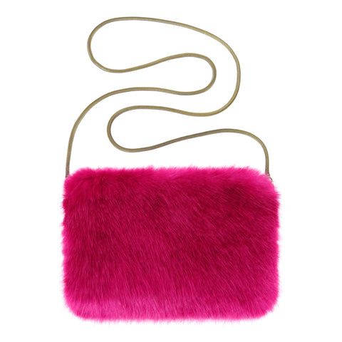 Magenta Faux Fur Chain Bag