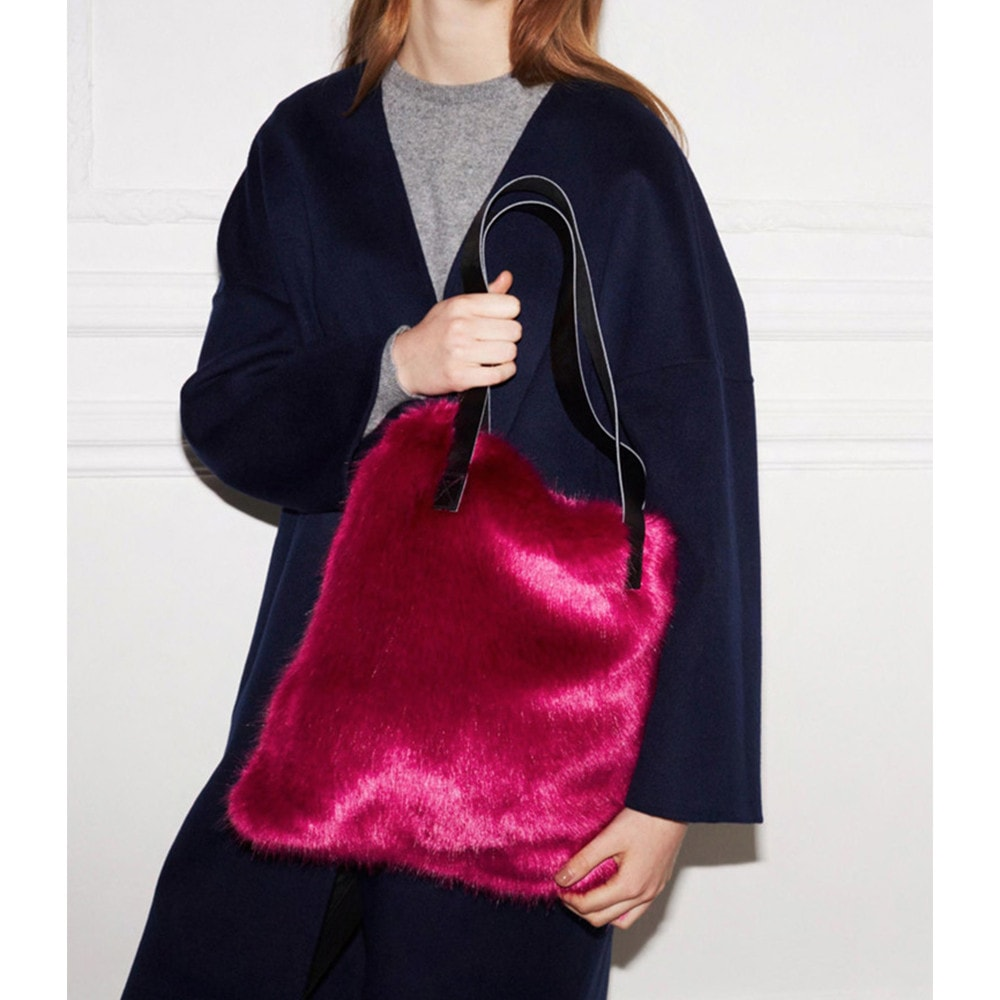 Magenta Faux Fur Tote Bag