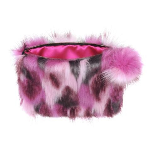 Impressionist Pink Over-sized Pom Pom Clutch Bag