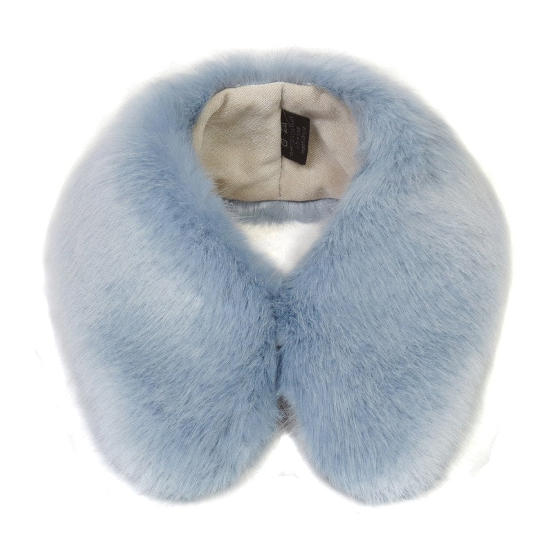 Helen Moore Powder Blue Faux Fur Shirt Collar