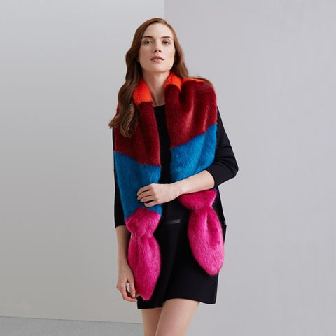 Bright Faux Fur Multi-Vixen Scarf