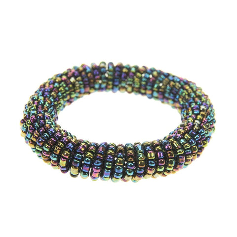 Orbital Multi-Metallic Stretch Bead Bracelet