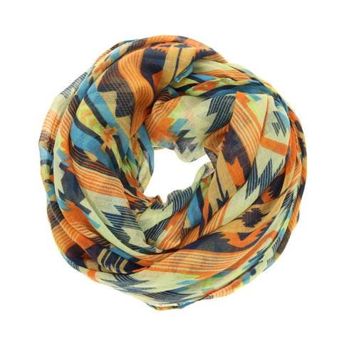 Orange Aztec Pattern Print Scarf