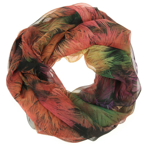 Orange Pink Feather Print Scarf