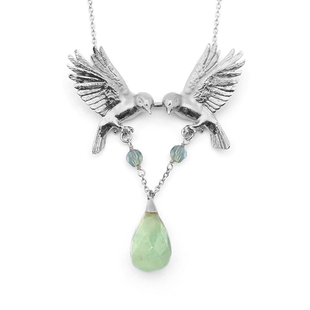 Double Bird Necklace - Rhodium