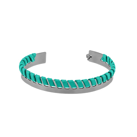 Yucatan Ruthenium and Mint Leather Thin Bracelet