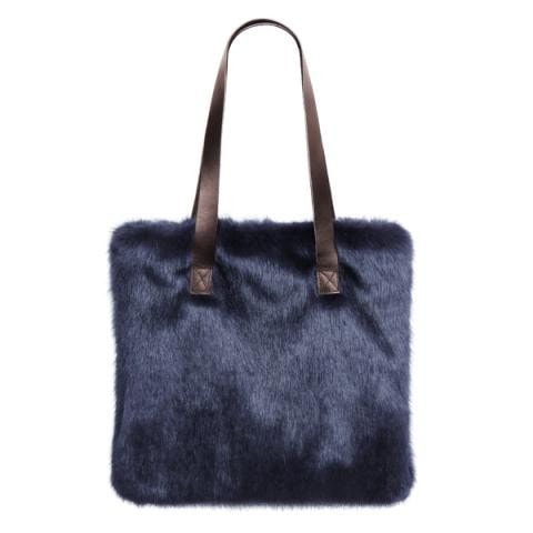 Midnight Faux Fur Tote Bag