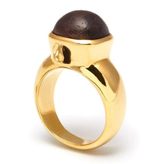 Wood Domed Gold Ring